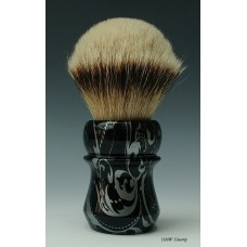 High Mountain White Silvertip shaving brush with Silver Floral